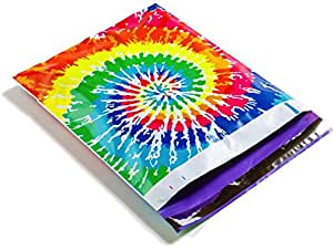 Poly Mailers Tie Dye Designer Mailers Shipping Envelopes Red, Blue, Yellow, Pink, Green Purple Custom Bags #SmileMail (100 10x13)