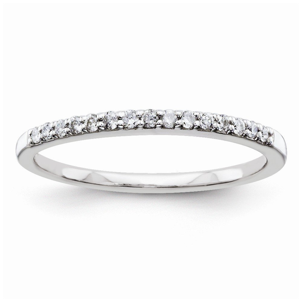 925 Sterling Silver Half Eternity Diamond Wedding Band for Women Size 8 (0.15ct, HSI2)