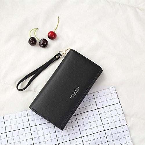 Long Clutch Ladies Hasp Purse Elegant Phone Fashion Widewing Wallets Cell Women Black PU 1nXSwFx