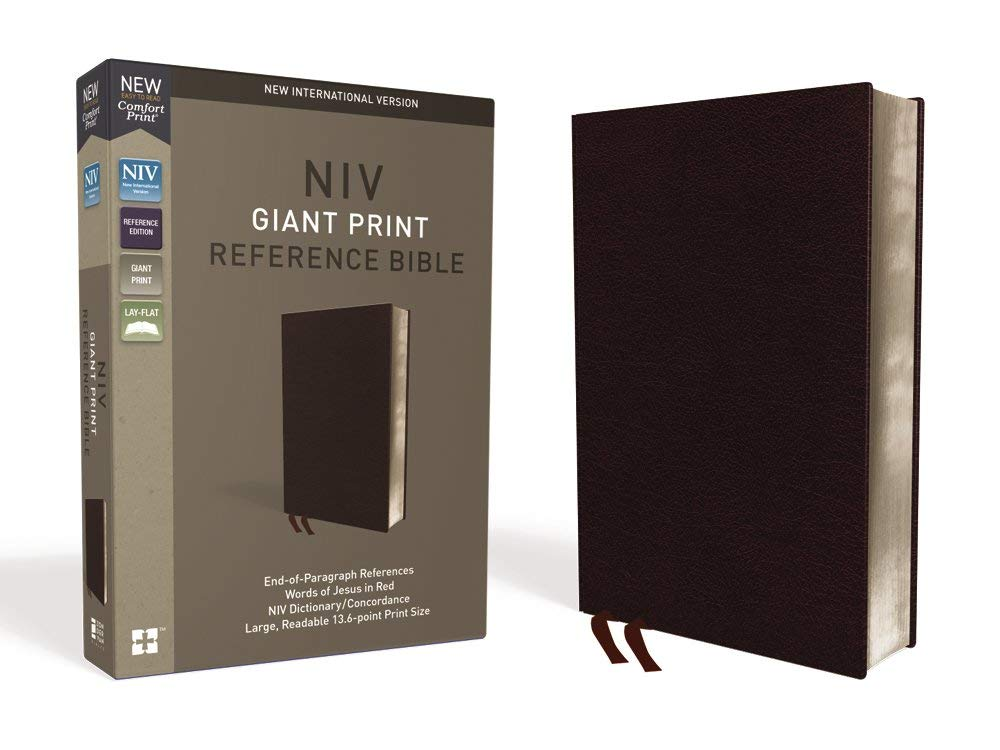 NIV, Reference Bible, Giant Print, Bonded Leather, Burgundy, Red Letter Edition, Thumb Indexed, Comfort Print by HarperCollins Christian Pub.