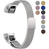 """Oitom Fitbit Alta HR Accessory Bands and Fitbit Alta Band, (2 Size) Large 6.7""""-9.3"""" Small 5.1""""-6.7"""" (8 Color) Silver Black Rose Gold Pink Blue Brown Rainbow"""