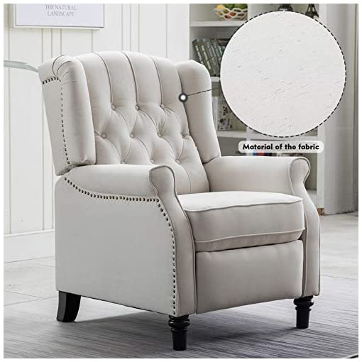 Farmhouse Accent Chairs CANMOV Push Back Recliner Chair, Elizabeth Fabric Armchair with Tufted Back Recliner Home Theater Seating w/Padded Seat… farmhouse accent chairs
