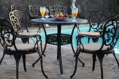 GrandPatioFurniture.com Outdoor Cast Aluminium CBM-Patio 5 Piece Butterfly Dining Set SH213-SH045