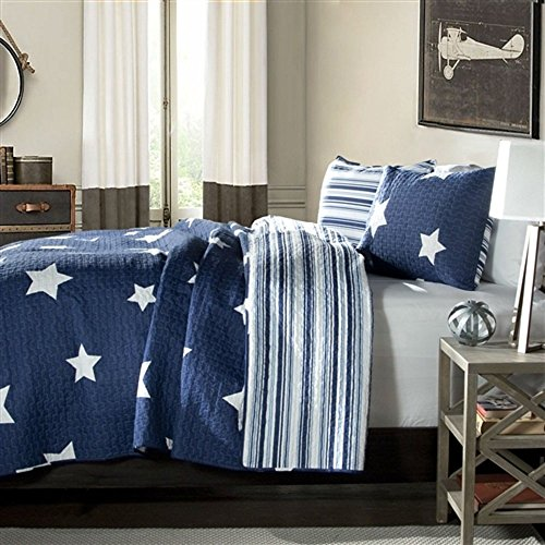 MyEasyShopping Full/Queen Navy Stars And Stripes At Night Quilt Coverlet Bedspread Set Coverlet Quilt Antique Hand Sack Crocheted Bedspread (Hand Crocheted Bedspread)