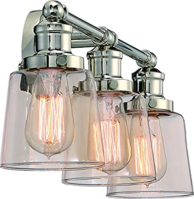 "Luxury Industrial Chic Bathroom Vanity Light, Medium Size: 9"" H x 23"" W, with Modern Style Elements, Nostalgic Design, Polished Nickel Finish and Light Champagne Glass, UQL2681 by Urban Ambiance"
