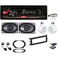 JVC CD/Radio Receiver+4 Speakers+Harness+Mount Kit For 97-02 Jeep Wrangler