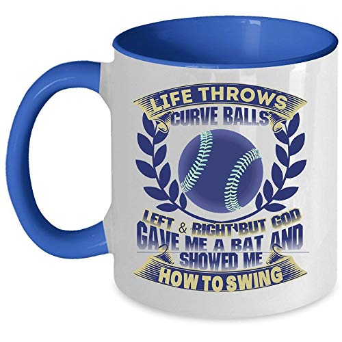 Baseball Coffee Mug, Life Throws Curve Balls Left And Right Accent Mug (Accent Mug - Blue) ()