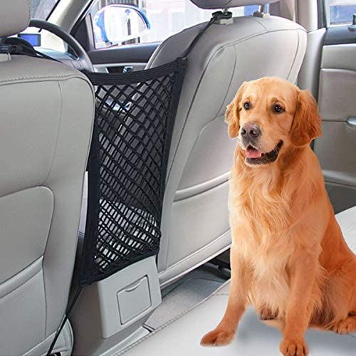 Car Seat Storage Mesh – Car Dog Barrier Seat Net Organizer Seat Back Net Bag Net Hook Pouch Holder with Adjusting Rope Stretchy Safer to Drive with Children and Pets