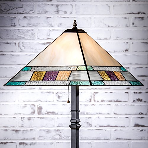 Amber Art Glass Night Light (J Devlin Lam 699 TB Tiffany Stained Glass Mission Table Lamp Blue, Amber, Purple, Green, Peach 28 3/4