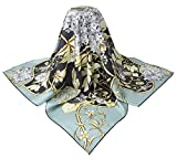 corciova 35'' 14 Timmy Twill 100% Real Mulberry Silk Square Women Scarfs Scarves Pastel Blue Davy Grey Flowers Patterns