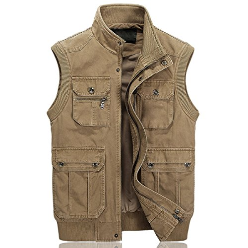 Men 's Jackets Casual Multi Pocket Worker Army Green Vest Yellow
