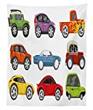 Lunarable Boy's Room Tapestry Twin Size, Race Cars Monster Truck Classics Urban Jeep Artistic Speed Automobiles Print, Wall Hanging Bedspread Bed Cover Wall Decor, 68 W X 88 L inches, Multicolor
