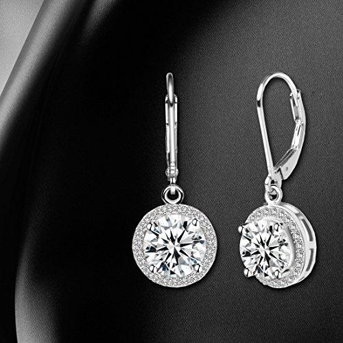 Jane Stone Sterling Silver Earrings Cubic Zirconia Halo Earrings Leverback Earrings Round Rhinestone Dangle Earrings Wedding Jewelry for Women Bridal by Jane Stone (Image #3)