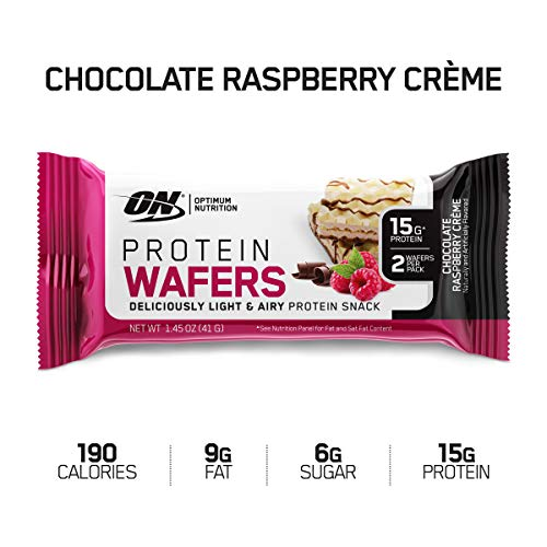OPTIMUM NUTRITION High Protein Wafer Bars, Low Sugar, Low Fat, Low Carb Dessert, Flavor: Chocolate Raspberry, 9Count