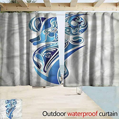 MaryMunger Custom Curtain Zodiac Aries Blue Artistic Ram Draft Blocking Draperies W72x45L Inches