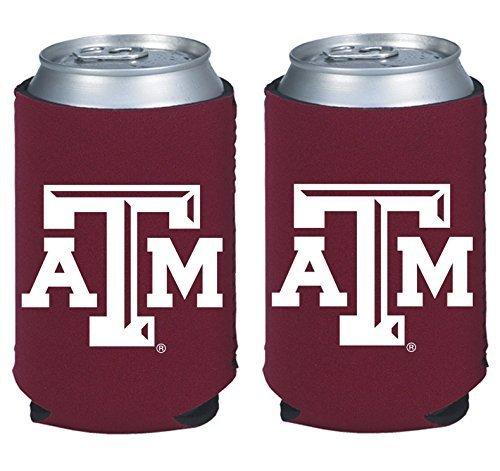 NCAA College 2014 Team Logo Color Can Kaddy Holder Cooler 2-Pack (Texas A&M Aggies)