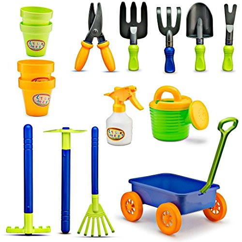 (Kids Gardening Tools Set - 15 Pcs Childrens Garden Play Yard Dig Toys - Includes Little Watering Can, Shovels, Rakes, Bucket, Spray Bottle, Scissor, and 4 Plant Pots)