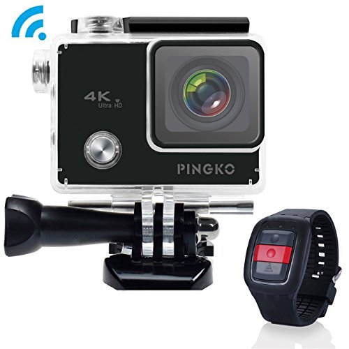 PINGKO Sport Action Camera 2.4G Remote 4K WIFI , 2.0 LCD Screen 12MP 1080P HD 170 Degree Wide Angle Lens Sony Sensor for Diving Bicycle,Waterproof DV Car Helmet Camcorder W/2 Batteries