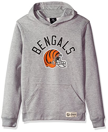 Outerstuff NFL Youth Boys Icon Pullover Hood-Heather Grey-L(14-16), Cincinnati Bengals ()