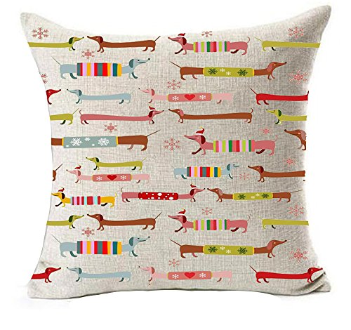 Winter greeting red background snowflake Merry Christmas present dachshund hot diggedy-dog Cotton Linen Throw Pillow covers Case Cushion Cover Sofa Decorative Square 18 inch (14)