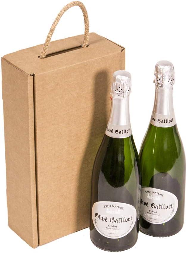 Kartox | Estuche para 2 botellas | Caja de cartón para cava o champagne | Caja de color kraft | 4 unidades: Amazon.es: Oficina y papelería