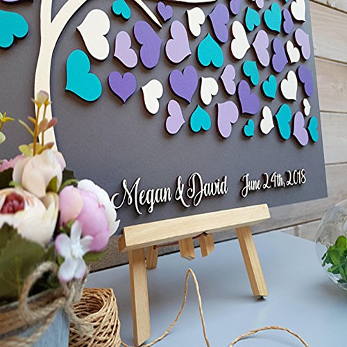 PotteLove Personalized 3D Wedding Guest Book Tree, Alternative Wood Guest Book,Custom Hearts Guestbook,Unique Wedding Guestbooks Ideas