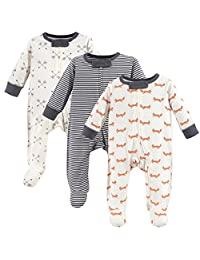 Touched by Nature Baby-Girls Organic Cotton Sleep and Play, 3 Pack Sleepers