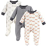 Touched by Nature Baby Organic Cotton Sleep and Play, 3 Pack, Fox, 3-6 Months (6M)