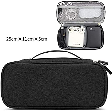 LiYao Travel Accessories Bags Waterproof Packing Date Cable Finishing Bag Data Charger Wire Bag Mp3 Earphones USB Flash Drive Bag Color : Black