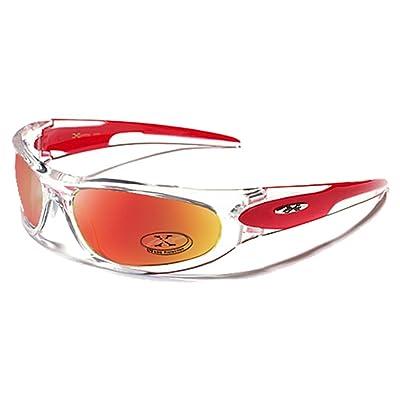 X-Loop Lunettes de Soleil - Sport - Cyclisme - Ski - Conduite - Moto -  Plage   Mod. 1200 Rouge Translucide   Taille Unique Adulte   Protection  100% UV400 8849d7a9c56c