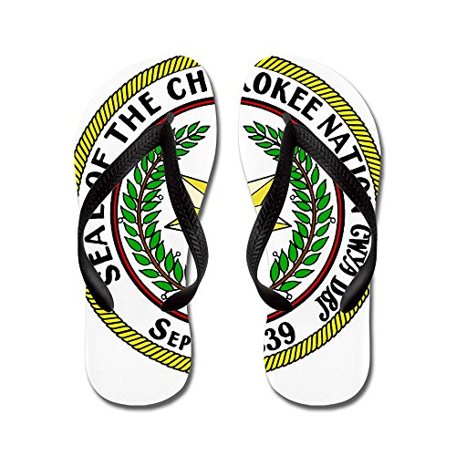 CafePress Great Seal Of The Cherokee Nation - Flip Flops, Funny Thong Sandals, Beach Sandals Black