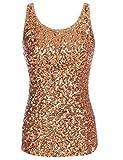 ladies vest tops - kayamiya Women's 1920S Style Glitter Sequined Vest Tank Tops XL Gold