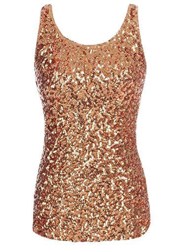 kayamiya Women's 1920S Style Glitter Sequined Vest Tank Tops S Gold