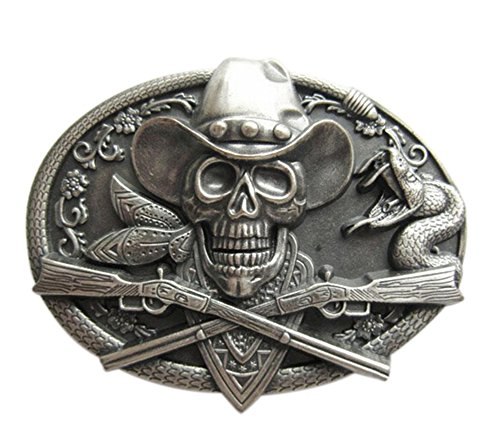 Scheppend Silver-plated Western Cowboy Style Skull Belt Buckle Confederate Flag Accessories