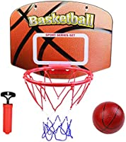 jerryvon Basketball Hoop for Kids Over The Door Portable Mini Stand Hoops(15.75''x12.40'') Backboard Toys Shooting Rim...