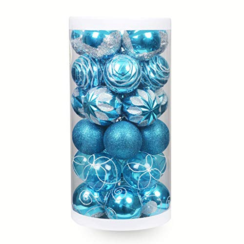 ChristmasExp Shatterproof Blue Christmas Ornaments Ball - Christmas Tree Balls Delicate Painting&Glittering Ornaments Decoration Baubles Set for Xmas Tree, 60mm/30ct