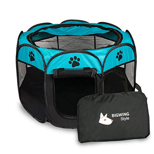 Italian Greyhound Puppies - BIG WING Pet Play Pen Portable Foldable Puppy Dog Pet Cat Rabbit Guinea Pig Fabric Playpen Crate Cage Kennel Tent(Blue) M …