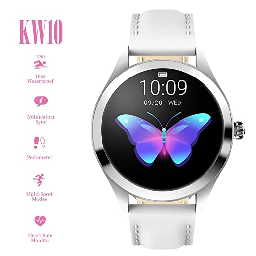 Smart Watch KW10,pantalla táctil redonda IP68 Smartwatch a ...