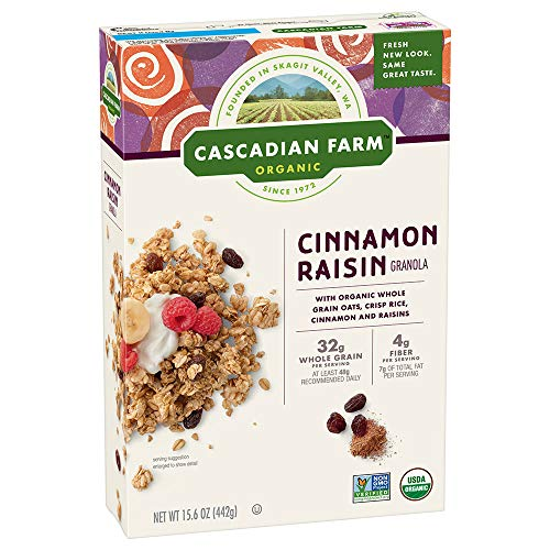 Granola Crunch Cinnamon (Cascadian Farm Organic Granola, Cinnamon Raisin Cereal, 15.6 oz (Pack of 6))