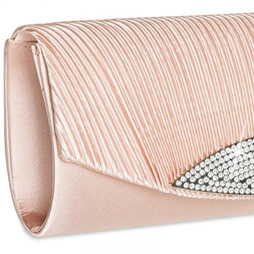 Brillante CASPAR Colores Satén TA289 de Bolso con para de Mano Rosa Varios Strass Clutch Mujer PP8rOw