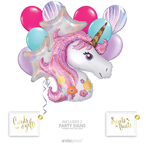 (Andaz Press Magical Unicorn Balloon Bouquet Kit, Unicorn Balloon, Unicorn Party Supplies, Unicorn Party Decorations, Inflatable Foil Mylar and Latex Balloons, Unicorn Birthday or Baby Shower)