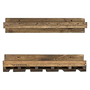 "del Hutson Designs Rustic Pine Wood Floating Wine Shelf and Glass Rack Set, 6"" x 24"" x 10"", Dark Walnut"