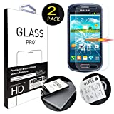 """[2 Pack] Galaxy S3 Mini Screen Protector, ANGELLA-M HD [Crystal Clear] Tempered Glass Screen Protector for Samsung Galaxy S3 Mini I8190 (4.0"""")"""