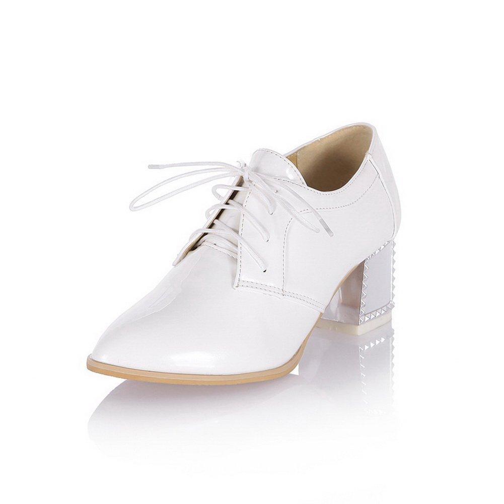 BalaMasa Womens Square Heels Lace-Up White Cotton Pumps-Shoes - 8 B(M) US