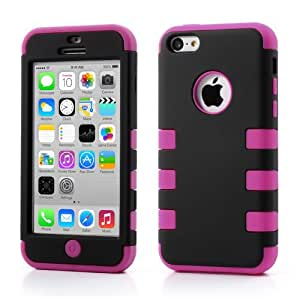 Snap-on 3 in 1 Hard Plastic + Silicone Hybrid iPhone 5c - Black / Rose Case Cover