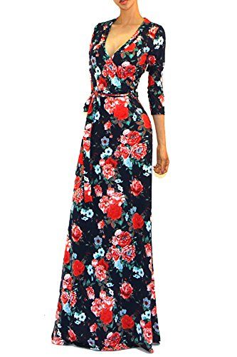 (Vivicastle Women's Printed V-Neck 3/4 Sleeve Faux Wrap Waist Tie Long Maxi Dress (Small, HH25, nvypnk))