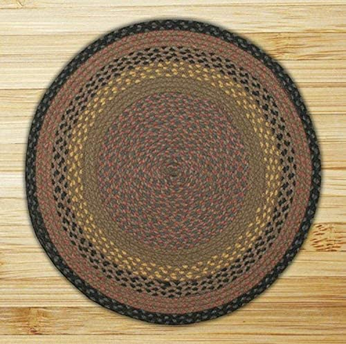 Earth Rugs Round Area Rug, 7.75 , Brown Black Charcoal