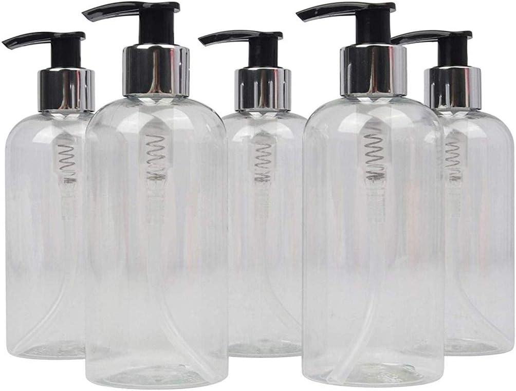 LUCEMILL Botella vacía de plástico Pet Transparente, 250 ml, con dispensador de loción Negro/Plata, reciclable