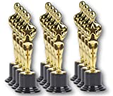 PlayO 6'' Gold Award Trophy Statue - 12 Pack - 12 Trophies for Ceremonies or Parties - Winner Prizes