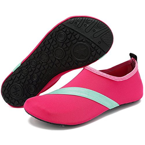 VIFUUR Unisex Quick Drying Aqua Water Shoes Pool Beach Yoga Exercise Shoes For Men Women Newpink UR3dUrtZt